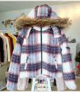 W044 เสื้อแจ็คเก็คสั้นลายสก๊อตแดงขาว 1